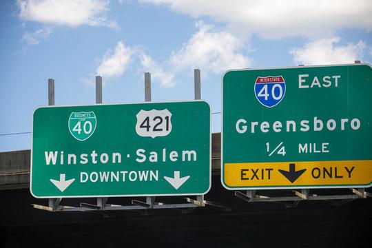 Winston-Salem and Greensboro, NC, Highway Signs