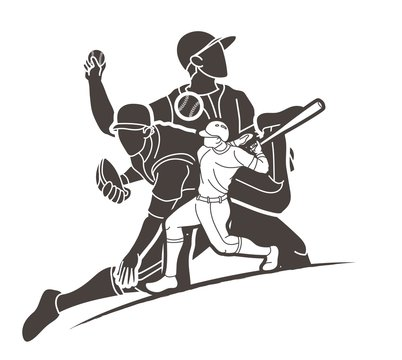 Group of Baseball players action cartoon sport graphic vector.