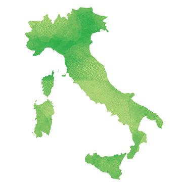 世界地図 イタリア 水彩風