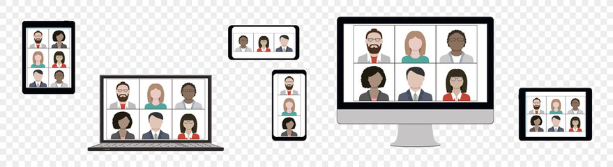 Business team hangout and have remote video meeting online on device screen