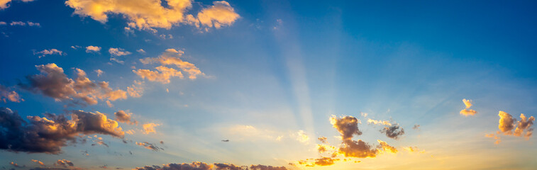 Beautiful sunset with blue sky and clouds natural background. Fototapete