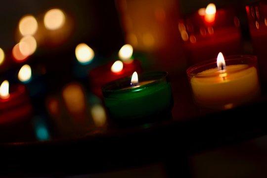 Close-up Of Illuminated Tea Light Candles