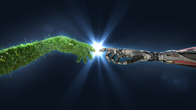 Green technology conceptual design, human arm covered with grass and lush and robotic hand, 3d render.