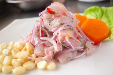 Peruvian seafood: fish cebiche with onion, chili, sweet corn and sweet potato served on a white plate