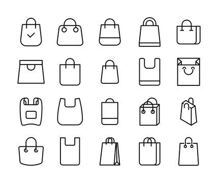 Shopping bag line icons set.