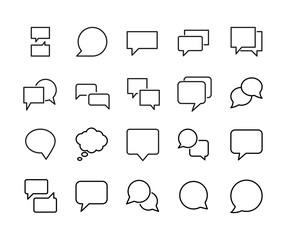 Stroke line icons set of speech bubble.