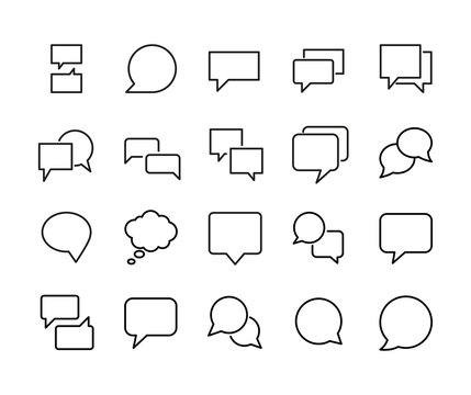 Stroke line icons set of speech bubble.