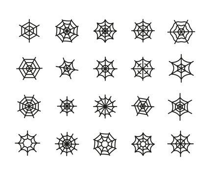 Spider web line icons set.