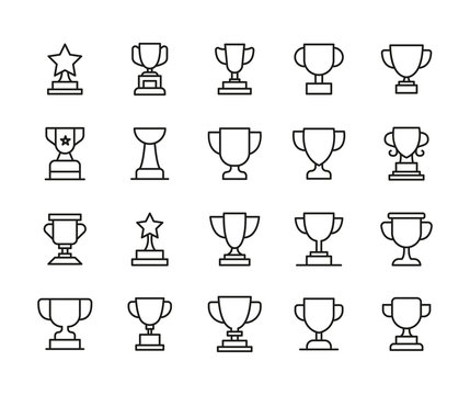 Simple set of trophy icons in trendy line style.