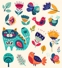 Fototapete - Big spring collection of flowers, leaves, birds, cat and spring symbols and decorative elements