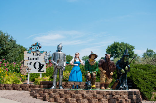 Aberdeen, South Dakota, USA - 7/2018: Storybook Land, Wizard of Oz display