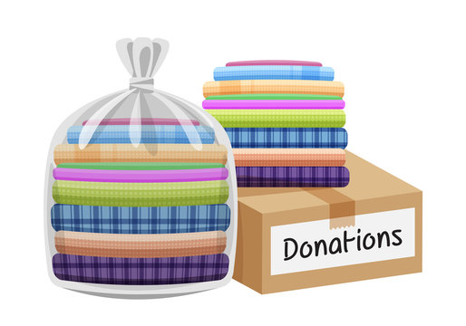 second hand clothes in the bag and crate, boxes for donations isolated on white, used shirts for donations and crate boxes, closed box donate, pile clothes used, clip art second hand donated clothes