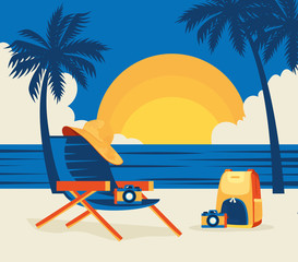 Wall Mural - summer landscape with tree palm and icons vector illustration design