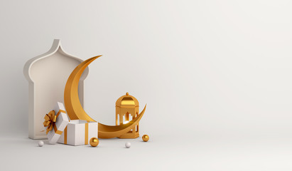 Islamic background, Gift box, lantern, gold crescent moon on white. Design concept of ramadan kareem, mawlid, iftar,isra and miraj or eid al fitr adha, copy space text area, 3D illustration.