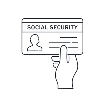 Social Security Card. Vector linear illustration isolated on white background.