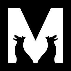 Wall Mural - M logo, animal logo design with the letter M, M animal logo, the M logo with negative spacing