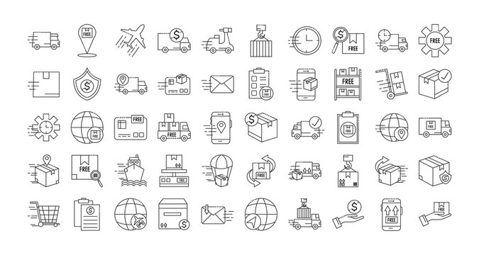 bundle of fast delivery and free delivery line style icons vector illustration design