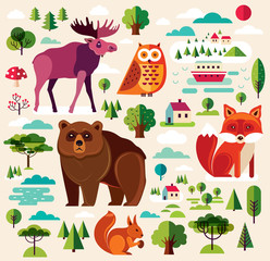 Fototapete - Collection of wild animals and trees in flat style