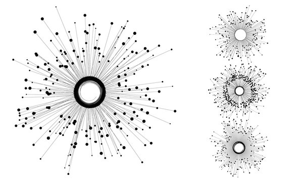 Connecting many dots with circle in center via lines. Command concept or social connection.