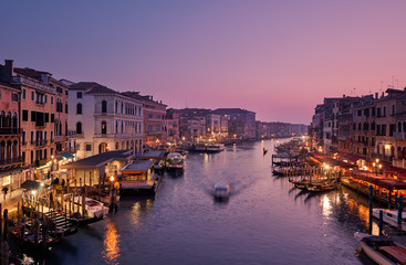Panoramic view of the grand canal from Rialto Bridge during sunset