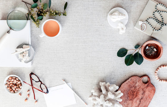 many note and stationary in white background white pastel desk christmas composition and Female home office desk and Fashion blog hero header