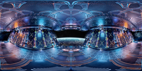 High resolution HDRI panoramic view of a spaceship interior. 360 panorama reflection mapping of a futuristic spacecraft room 3D rendering Fototapete