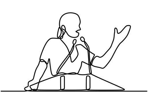 continuous line drawing, business presentation woman trainer talking. Speaker girl standing with confident, Smart lady Business coach speaking before audience Political meeting speech.