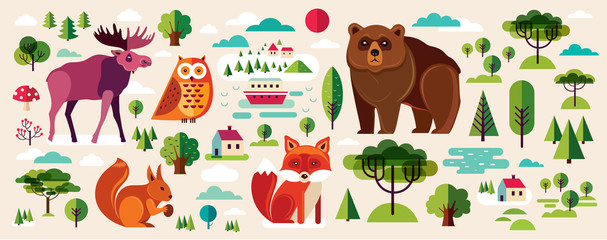 Fototapete - Collection of wild animals and trees in flat style. Group of animals wildlife