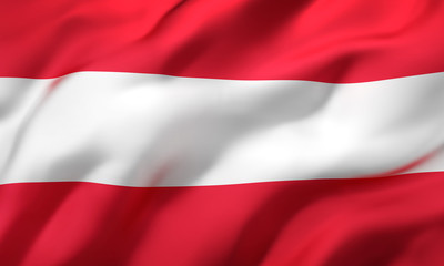 Flag of Austria blowing in the wind. Full page Austrian flying flag. 3D illustration.