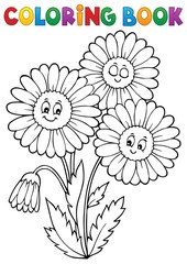 Wall Murals For Kids Coloring book daisy flower image 1