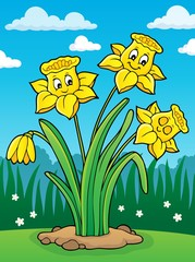 Wall Murals For Kids Narcissus flower theme image 2