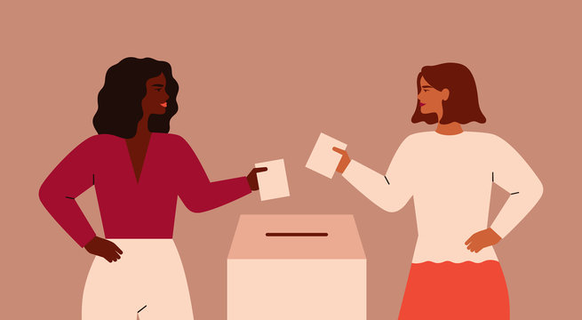 Two Strong girls are putting paper ballot in box. Women activists are calling for votes. Voting and Election concept. Pre-election campaign.