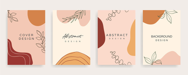 Fotobehang - Social media banner template. Editable mockup for stories, post, blog, sale and  promotion. Abstract earth tone coloured shapes, line arts background design for personal, fashion and beauty blogger.