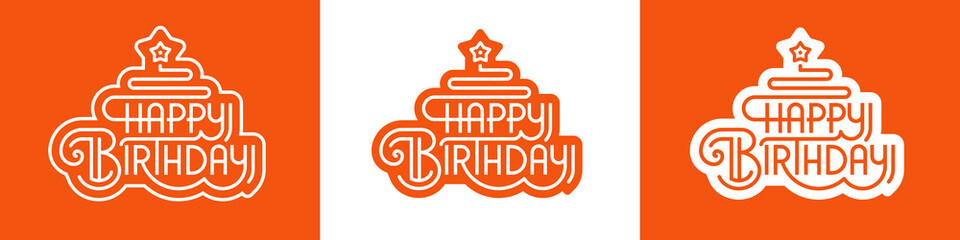 Happy Birthday - vector illustration, lettering, greeting phrase in linear style