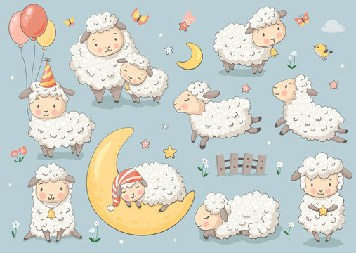Cute sheep set.  Vector characters for birthday, invitation, baby shower card, kids t-shirts and stickers kit. Hand drawn nursery illustration.