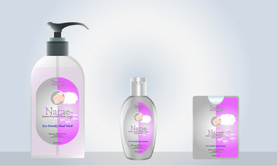 Wall Mural - liquid soap and pocket hand sanitizer with label design ready for mock up. vector illustration