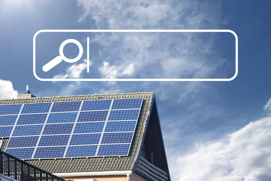rooftop with solar panels and white search box with loupe