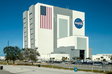 Cape Canaveral, USA - November 22, 2011: Exterior view of NASA Launch Control Center at Kennedy Space Center, Cape Canaveral in Florida
