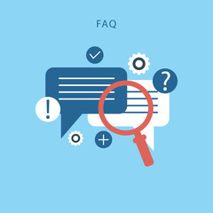 FAQ website banner. Vector illustration concept for frequently asked questions or questions and answers
