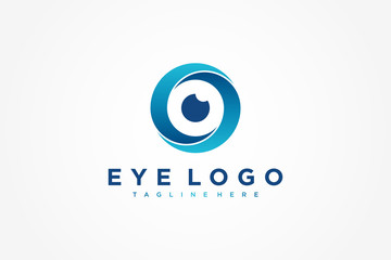 Abstract Eye Logo Letter S. Blue Circle Camera Icon. Usable for Business and Technology Logos. Flat Vector Logo Design Template Element.