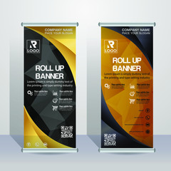 Abstract Black and gold Roll up banner template,with a polygon background - Vector