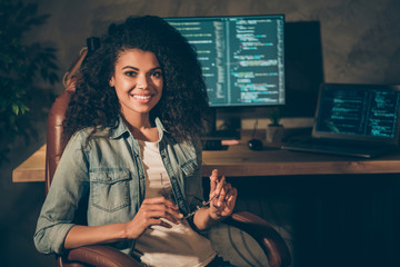 Skilled professional it start-up company executive worker afro american brown hair girl sit chair armchair enjoy evening website javascript framework creating job in workplace workstation