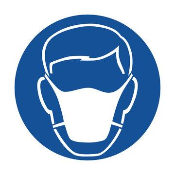 Wear mask safety pictogram