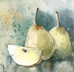 Chinese pears with blue background