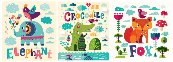 Colorful baby collection of baby posters with funny animals crocodile, fox and elephant Fotomurales