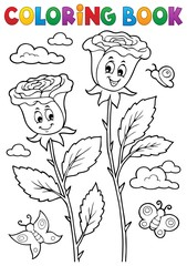 Wall Murals For Kids Coloring book rose flower image 2