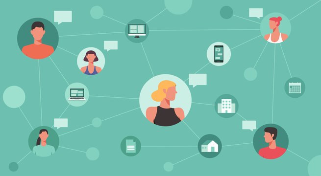 working remotely and new normal concept, people connecting and working online together on laptop computer, smartphone, work from home and work from anywhere, vector flat illustration