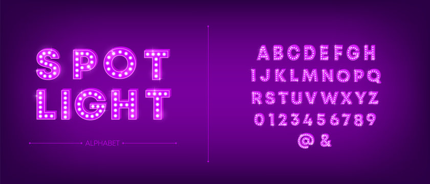3d light bulb alphabet with purple frame isolated on dark pink background. Broadway show style retro glowing font. Vector illustration.