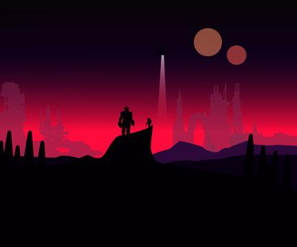 Laststand sci fi fantasy art of a man