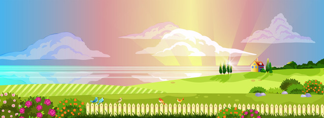 Horizontal countryside view with sunset rays, clouds, river, little house, birds on the fence and blooming bushes. Spring panoramic landscape in cartoon style with copy space for banners, wallpapers Fotomurales